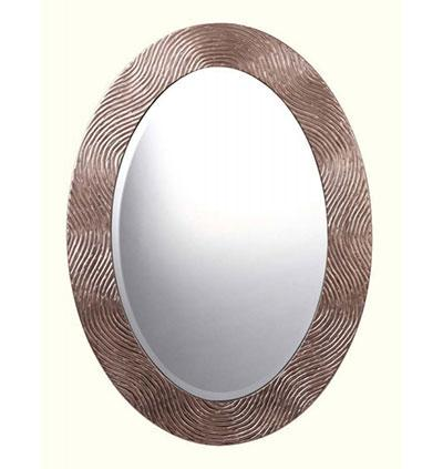 Narrow Oval Gilded Mirror with Beveled Glass